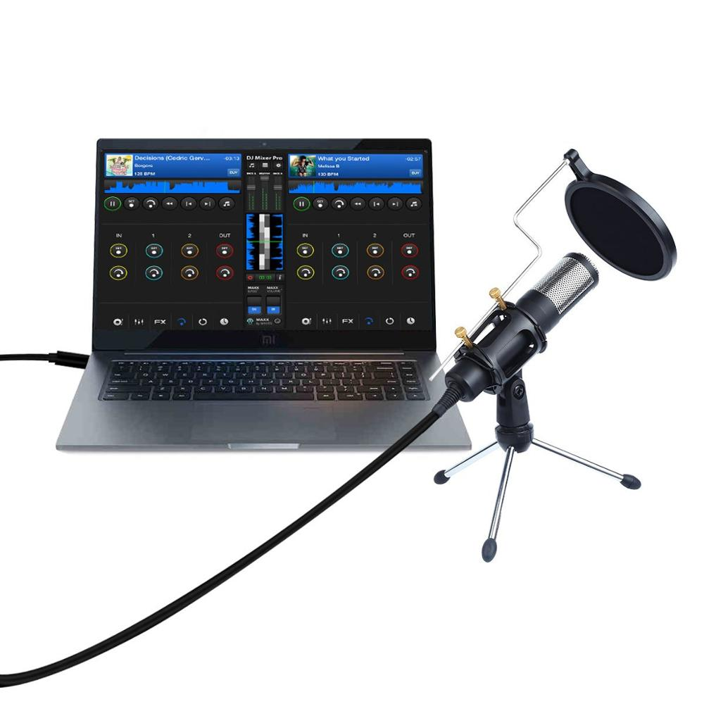Upgrade Professional Condenser Microphone for Computer with Stand for Phone PC Skype Studio Microphone USB Microfone Karaoke Mic