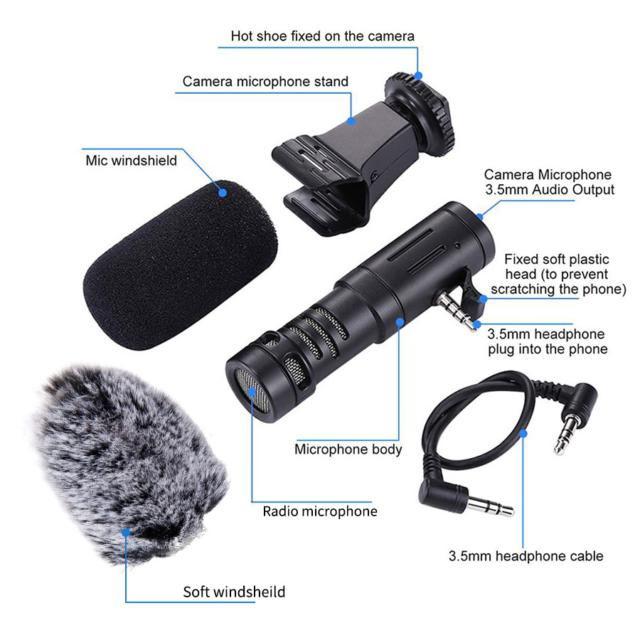 Phone Microphone Mini Portable 3.5mm Condenser Phone Video Camera Interview Microphone With Muff For iPhone Samsung Mic
