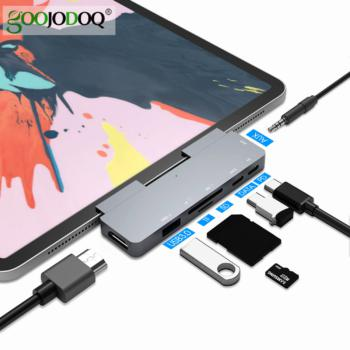 USB C Hub 60W PD Charging for iPad Pro MacBook Air Switch to HDMI-compatible USB 3.0 Adapter Type-C Phone with Earphone Jack
