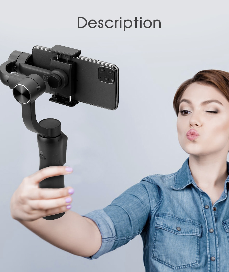 KEELEAD 3-Axis Handheld Gimbal Stabilizer Focus Pull & Zoom for Smartphone Phone Action Camera Video Record Vlog Live