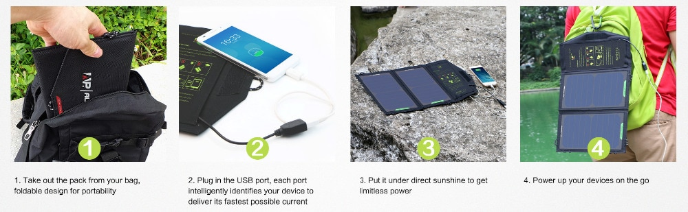 ALLPOWERS Solar Panel 10W 5V Solar Charger Portable Solar Battery Chargers Charging for Phone for Hiking Camping Outdoors