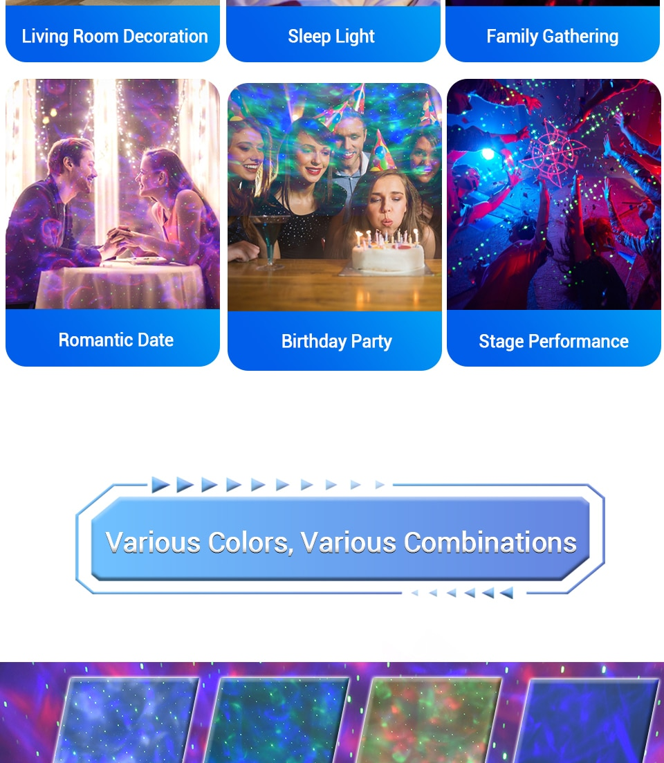 Colorful Starry Sky Galaxy Projector Nightlight Child Blueteeth USB Music Player Star Night Light Romantic Projection Lamp Gifts