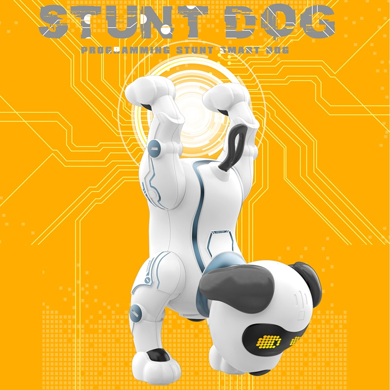 Remote Control Dog RC Robotic Stunt Puppy Toys Handstand Push-up Electronic Pets Dancing Programmable Robot With Sound For Kids