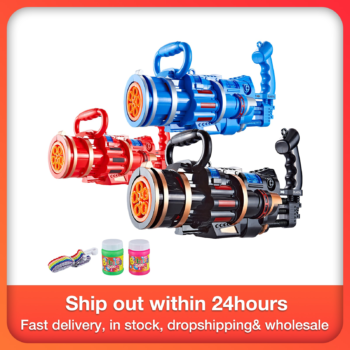 2-in-1 Electric Bubble Machine With Bubble Toy Gatling Bubble Gun Kid Toy Children Outdoor Sports Gift